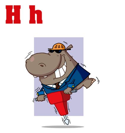 Funny Cartoons Alphabet-Hippo With Letters H Vector