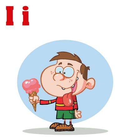 Funny Cartoons Alphabet-Boy Eating Ice Cream With Letters I Vector