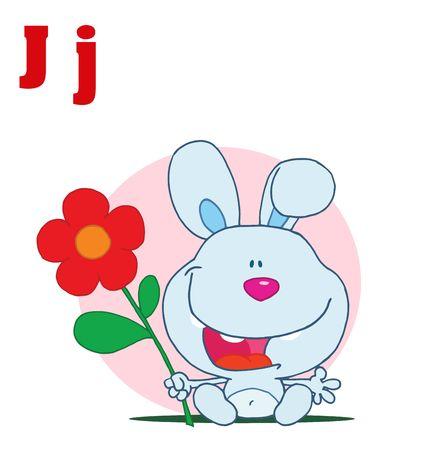 letter alphabet pictures: Funny Cartoons Alphabet- Rabbit With Letters J Illustration