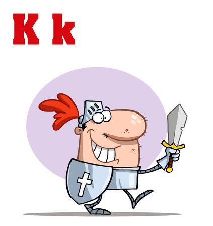 Funny Cartoons Alphabet-Knight With Letters K Vector