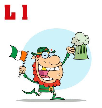 paddys:  Funny Cartoons Alphabet-Leprechaun With Letters L Illustration