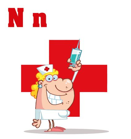 health cartoons: Nurse With Letters N Illustration