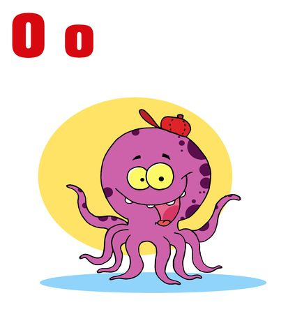 Funny Cartoons Alphabet-Octopus With Letters O Vector