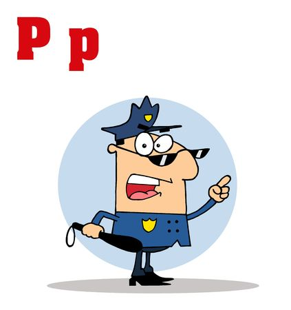 po: Funny Cartoons Alphabet-Cop With Letters C