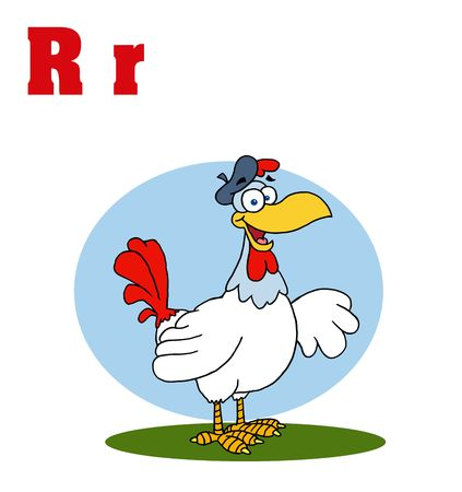 Funny Cartoons Alphabet-Rooster With Letters R Vector