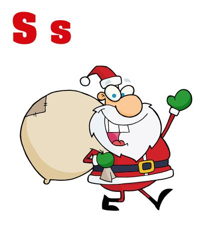 Funny Cartoons Alphabet-Santa With Letters S Stock Vector - 6906082