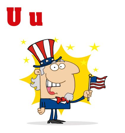 Funny Cartoons Alphabet-Uncle Sam With Letters U