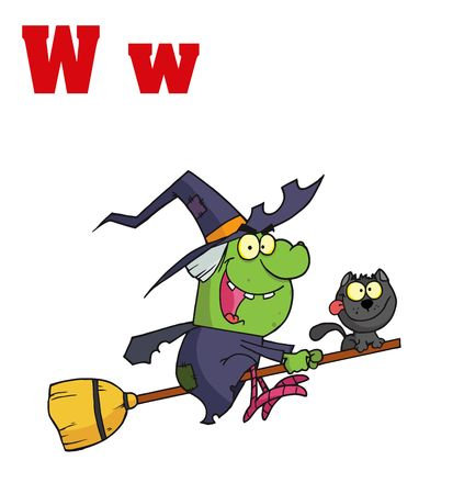 Funny Cartoons Alphabet-Witch With Letters W Vector