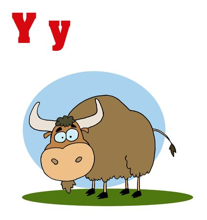 Funny Cartoons Alphabet-Yak With Letters Y Vector