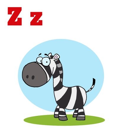 stock clip art icon: Funny Cartoons Alphabet-Happy Zebra With Letters Z