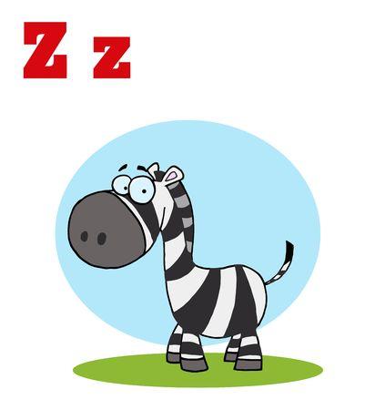 Funny Cartoons Alphabet-Happy Zebra With Letters Z
