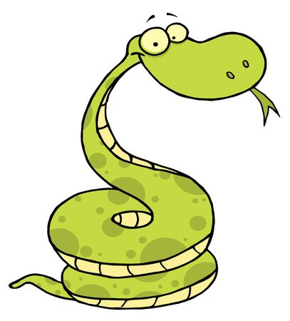 stock image:  Cartoon Coiled Happy Viper