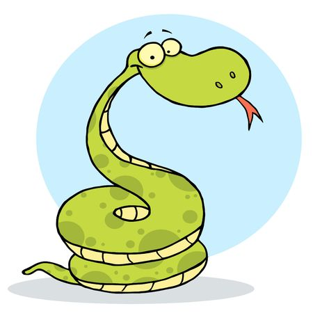 Cartoon Coiled Happy Viper,background Ilustracja