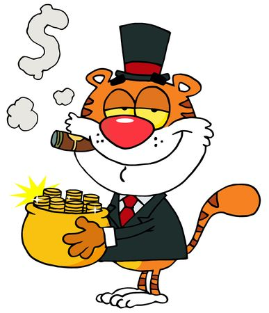 Happy Tiger Carrying A Pot Of Gold And Smoking A Cigar