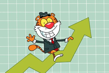 Cartoon Character Happy Tiger Riding On Success,background Vector