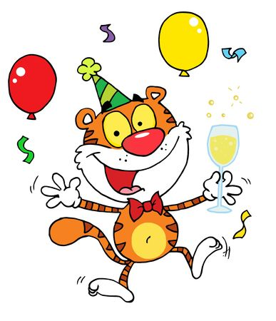 b day parties: Cartoon Character Animal Happy Tiger In Party Illustration