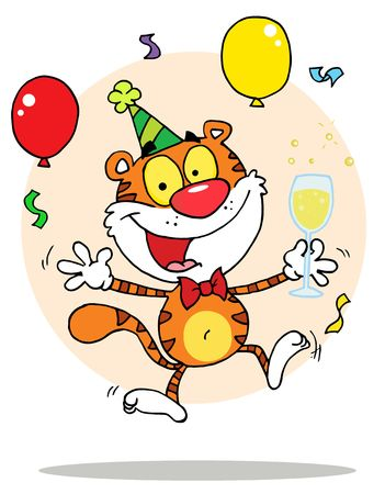 b day parties: Cartoon Character Animal Happy Tiger In Party,background