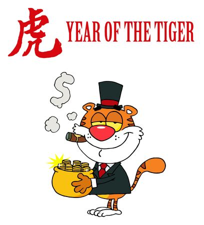 Character Animal Happy Tiger With Pot Of Gold Vector