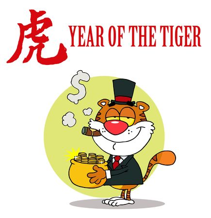 Happy Tiger With Pot Of Gold Stock Illustratie