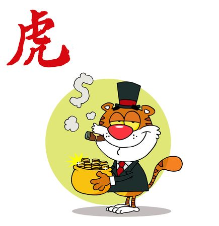 Happy Tiger With Pot Of Gold, background Vector