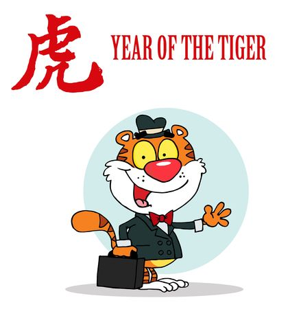 Friendly Sales Tiger With A Year Of The Tiger Chinese Symbol And Text Ilustração