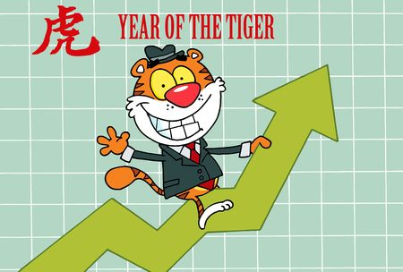 Business Tiger On A Profit Arrow, With A Year Of The Tiger Chinese Symbol And Text Vector