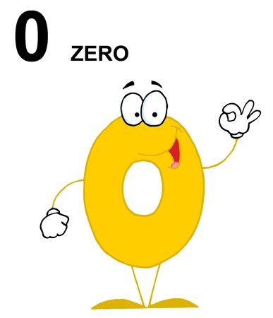 Friendly Number 0 Zero Guy With Text Vector
