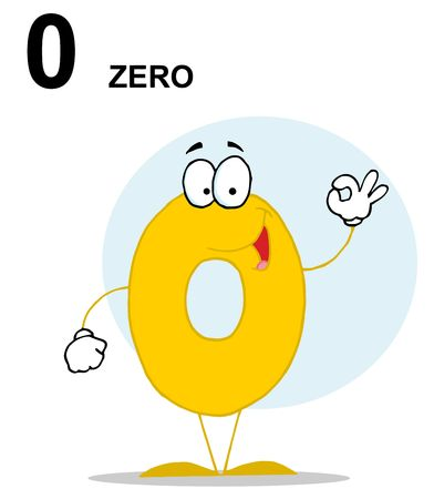 Friendly Yellow Number 0 Zero Guy With Text Illustration