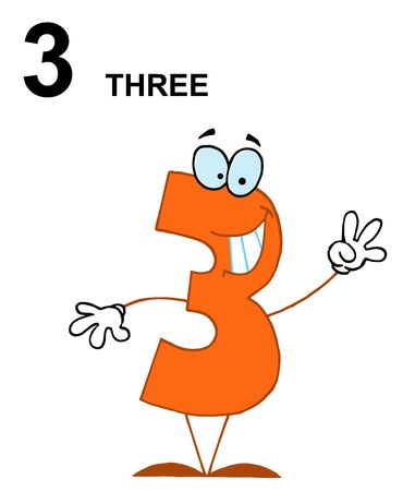 Friendly Orange Number 3 Three Guy With Text Stock Vector - 6907035