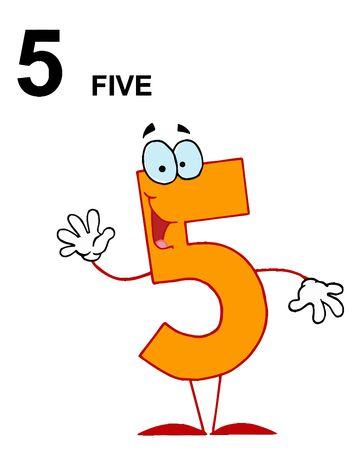 rekensommen:   Vriendelijke oranje nummer 5 vijf Guy met tekst Stock Illustratie