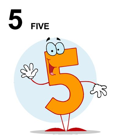 Friendly Number 5 Five Guy With Text Vector