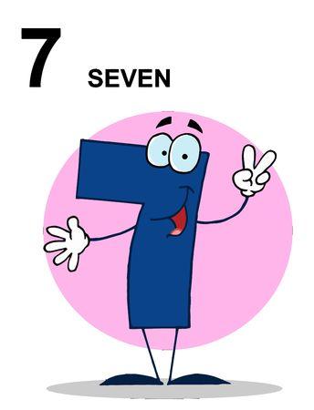 cartoon numbers: Amistoso n�mero 7 siete Guy con texto  Vectores