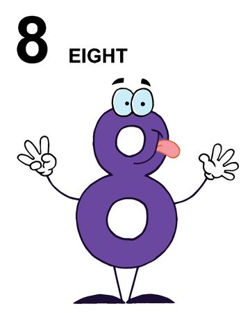 stock clip art icon: Friendly Number 8 Eight Guy With Text