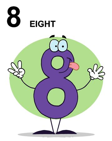 Friendly Purple Number 8 Eight Guy With Text Illustration