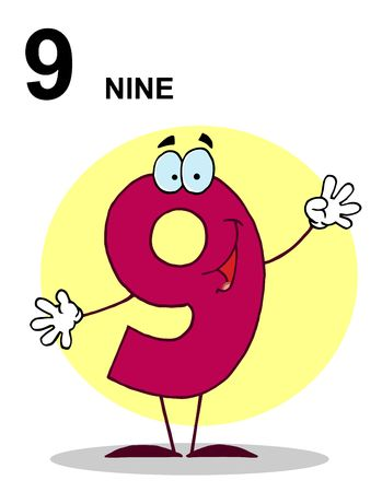 Friendly Number 9 Nine Guy With Text