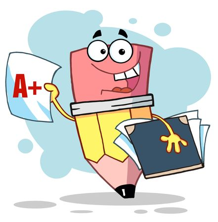 Happy Pencil Guy Holding An A Plus Report Card,background Illustration