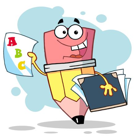 report icon: Pencil Guy Holding An A Plus Report Card,background Illustration