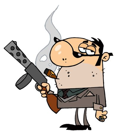 Cartoon Character Mobster Carries Weapon Stock Vector - 6906625