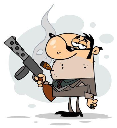 Dibujos animados carácter mafioso tiene armas, fondo