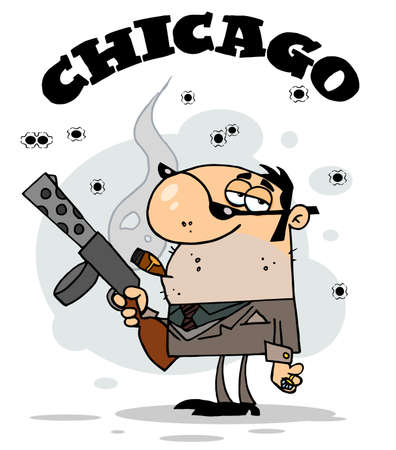 mobster: Character Mobster Carries Weapon,background Illustration