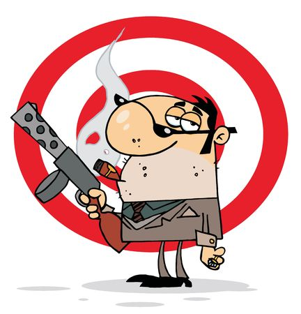 Tough Cigar Smoking Mobster Holding A Submachine Gun In Front Of A Target Stock Vector - 6906348