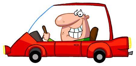 seguros autos: Hombre feliz unidades coche deportivo