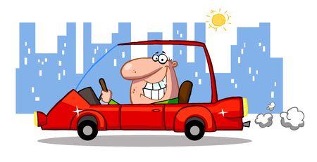 autom�vil caricatura: Hombre feliz unidades coche deportivo en el centro de  Vectores