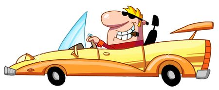 Blond Guy Driving A Convertible