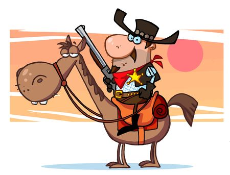 constable: Western Sheriff with gun on horse, background Illustration