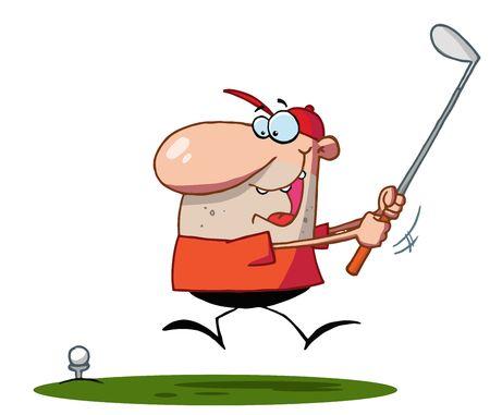 Lucky Man Swings Golf Club