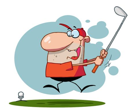 stock clip art icon: Lucky Man Swings Golf Club,background
