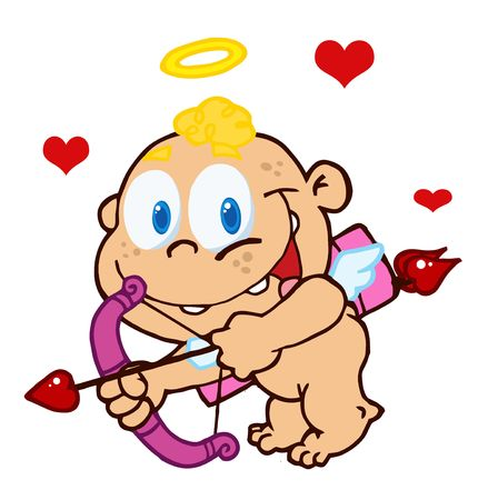 Cute Cupid with Bow and Arrow Flying Vector