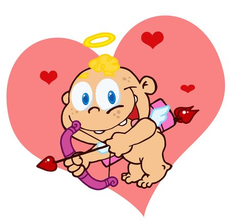 Cute Cupid with Bow and Arrow Flying In Front Of A Heart Vector