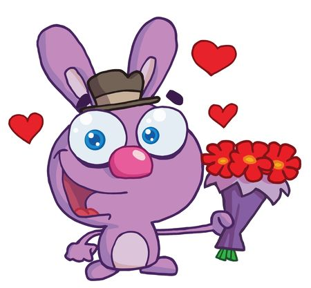 Romantic Purple Bunny Holding Out Flowers Vector